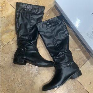 Alfani black leather knee high boots NWT